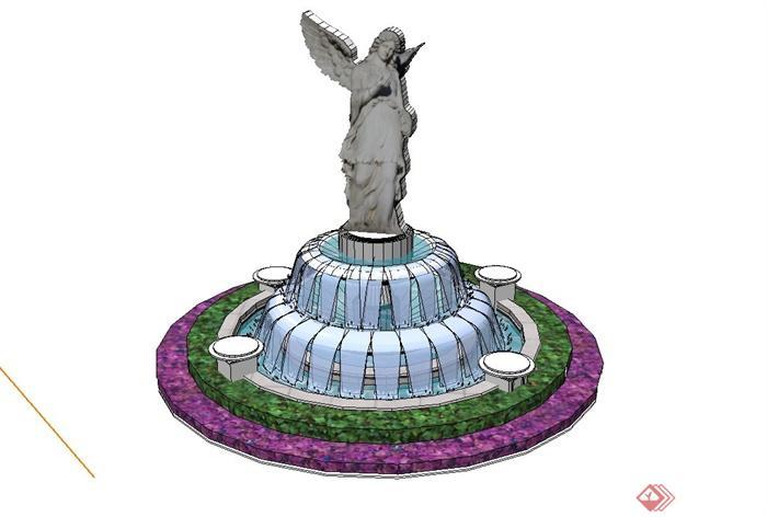 欧式花坛雕塑喷泉水池设计su模型