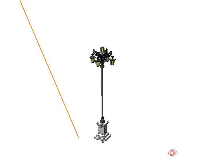 小区欧式路灯设计su模型(2)