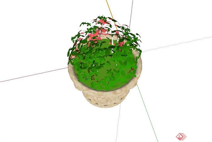 精致欧式圆形花钵设计su模型