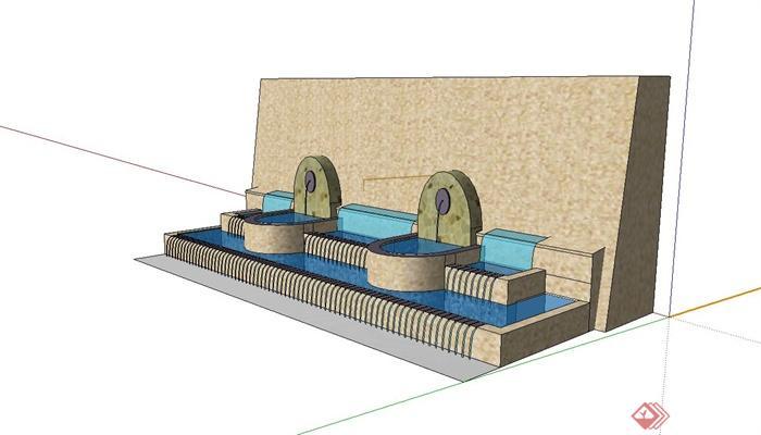 欧式矮墙叠水景观水池