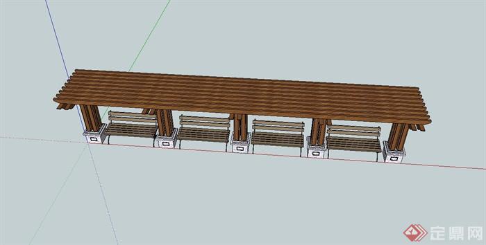 欧式木廊架,坐凳组合设计su模型