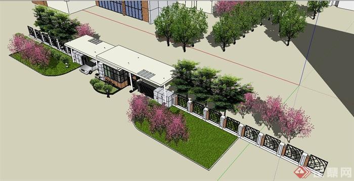 园林景观节点某小区入口大门设计su模型(3)