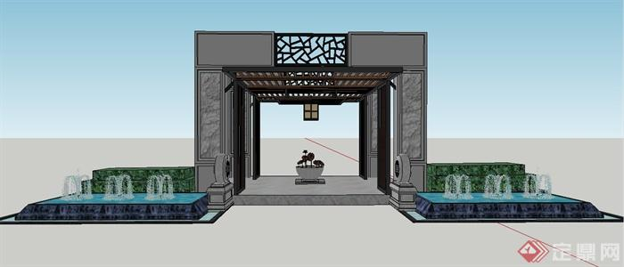 现代中式某入口大门门廊设计su模型(1)图片
