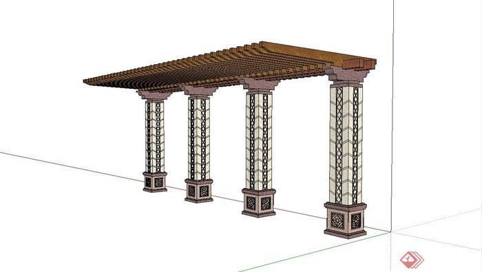 某欧式庭院廊架设计su模型