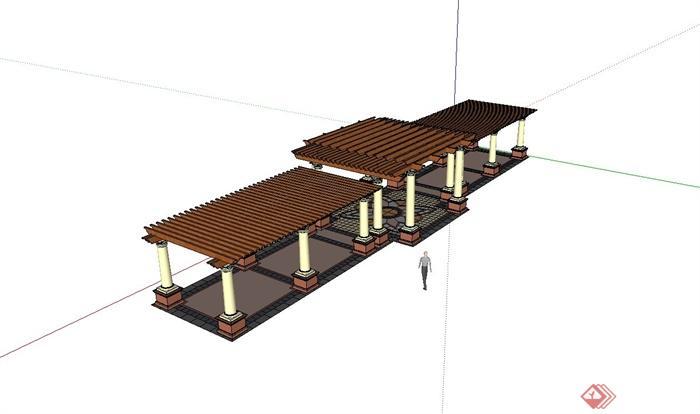 某欧式庭院廊架,长廊架设计su模型