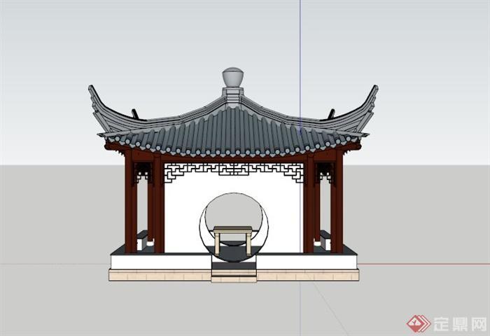 古典中式亭子su模型(2)