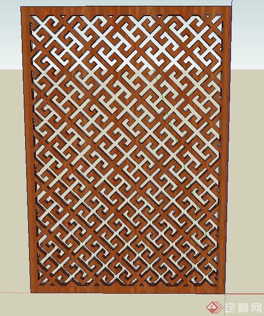 室内木质镂空屏风设计su模型