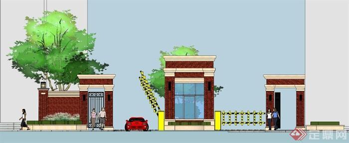 欧式小区大门入口设计su模型(2)