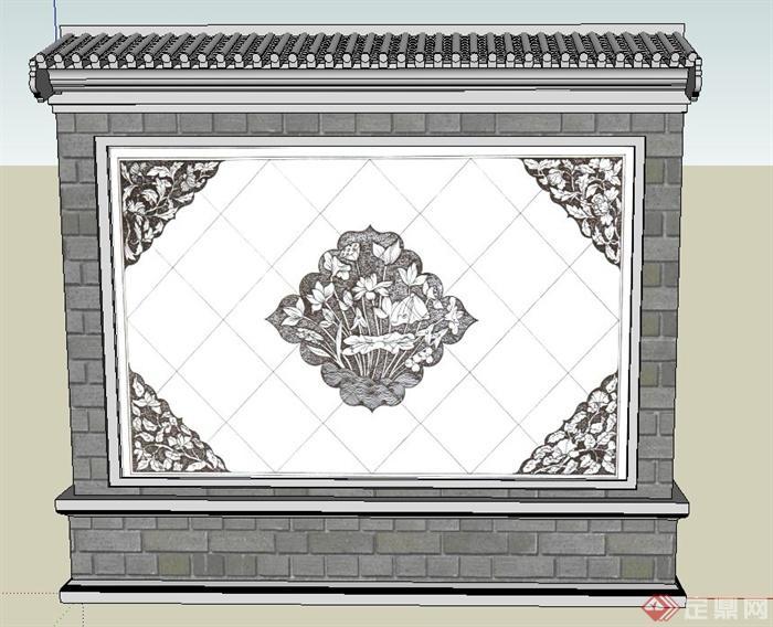 古典中式浮雕花纹景墙设计su模型