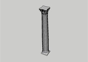 现代大理石景观柱设计SU(草图大师)模型