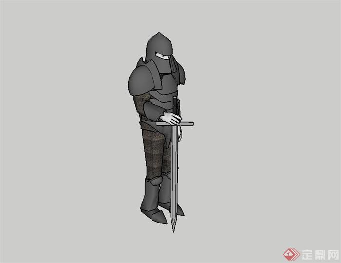 骑士人物雕塑设计su模型