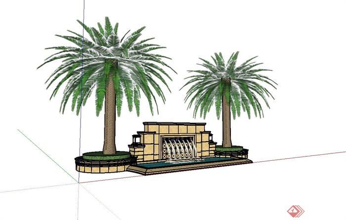 某小区大门入口欧式喷泉水池设计su模型(含树池)