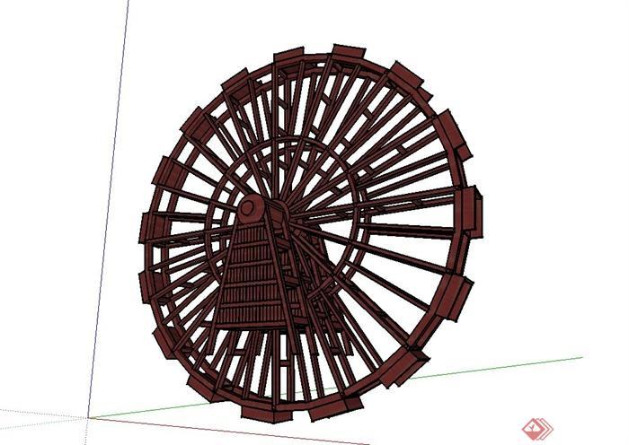 圆形木质水车设计su模型