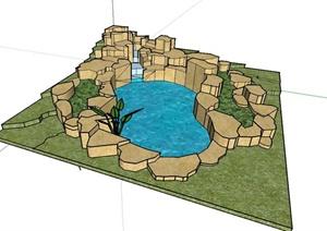 现代自然石驳岸水池设计SU(草图大师)模型