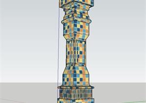 现代马赛克景观柱设计SU(草图大师)模型