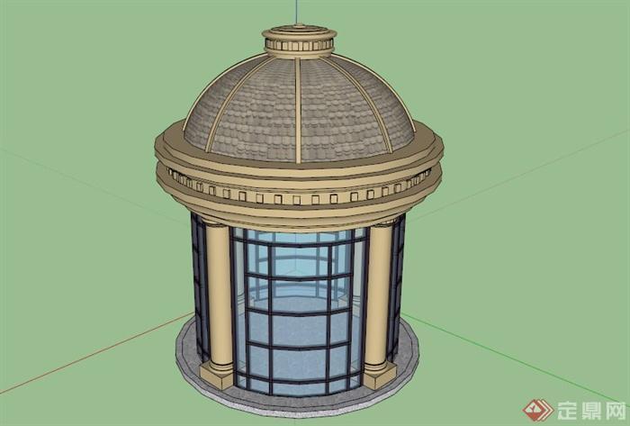 欧式圆形景观亭su模型