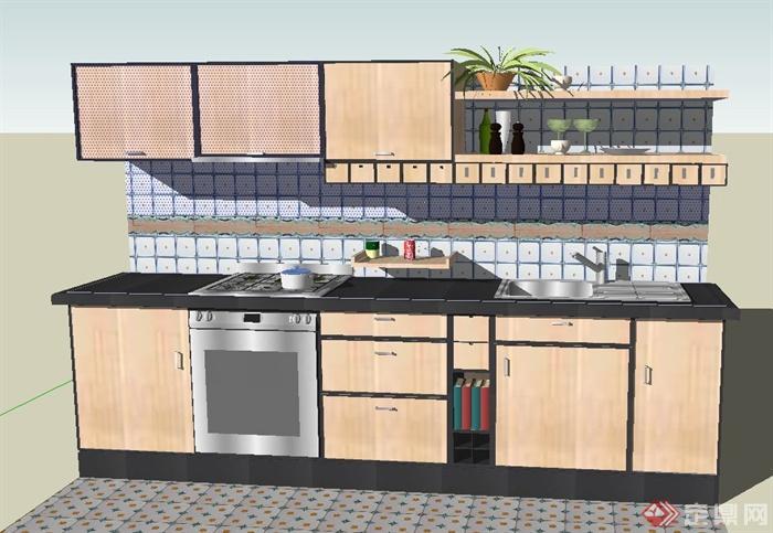 现代厨房室内橱柜设计su模型(1)