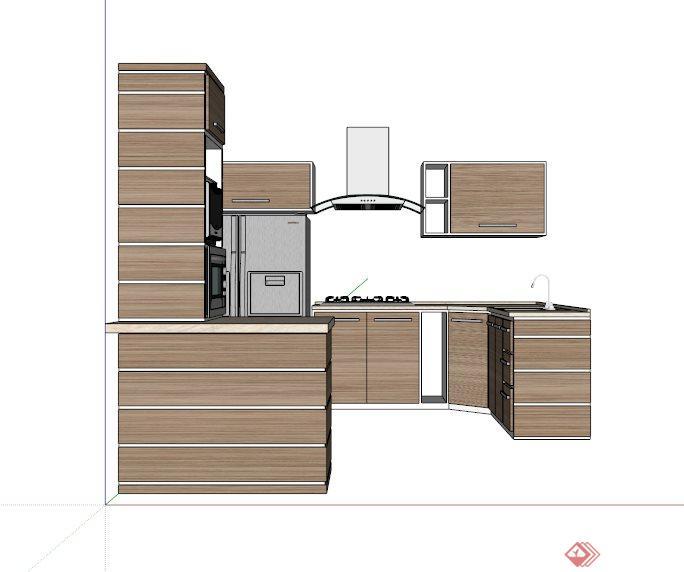 现代木制橱柜组合su模型(1)