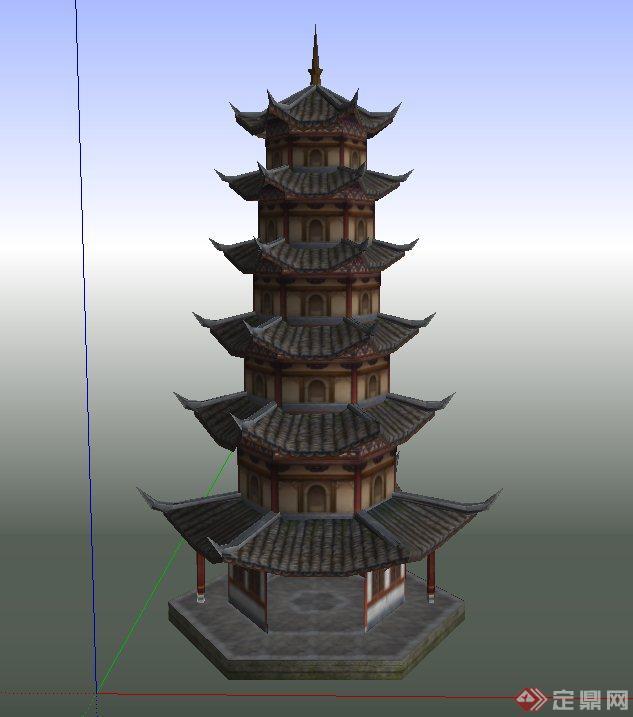 古典中式六层塔楼设计su模型