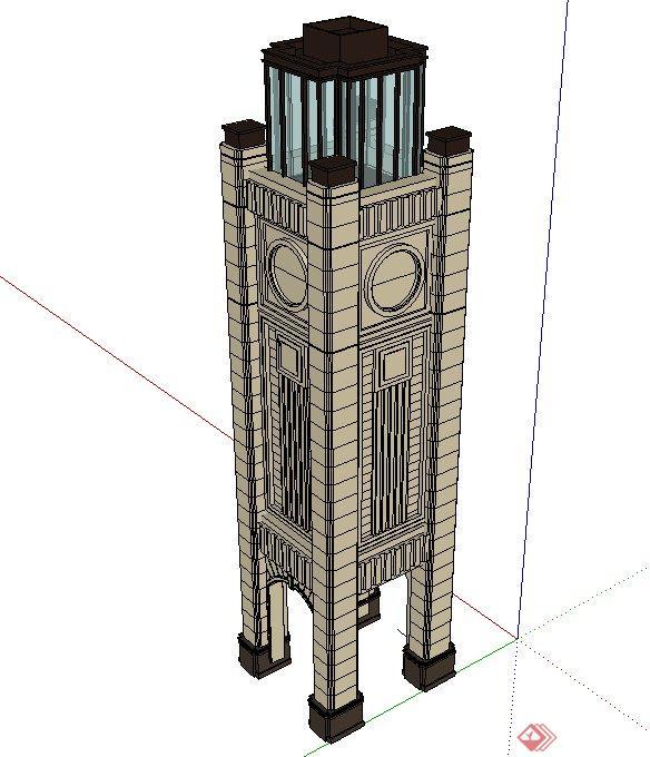 欧式风格景观塔设计su模型(2)