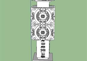 园林景观节点浮雕花纹景观柱设计SU(草图大师)模型
