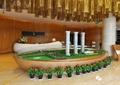售楼部大堂,小区模型,盆栽植物
