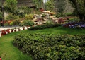 小区绿化,草坪,花盆,假山跌水,假山石头