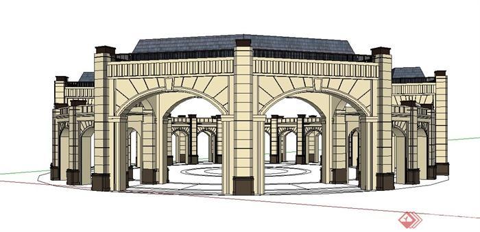 欧式风格环形廊架设计su模型
