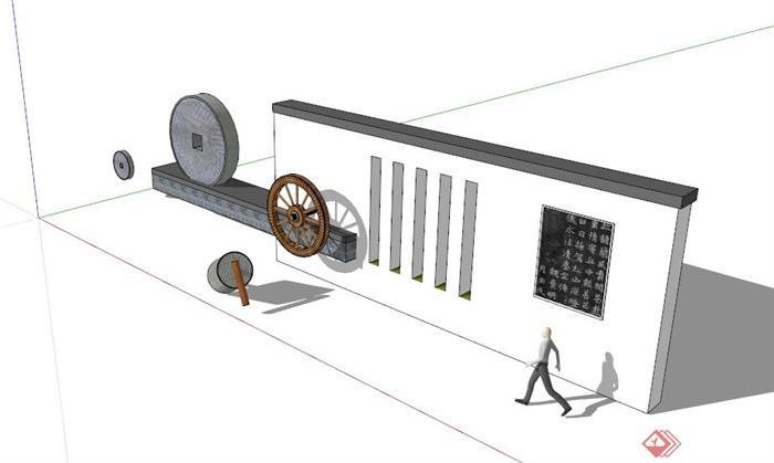现代中式车轮铜钱装饰景墙su模型(1)