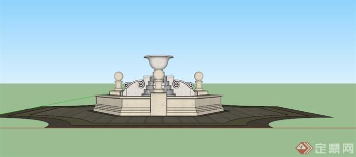 欧式六角形喷泉水池SU模型,该模型为欧式设计风格,总体呈六角形,中间为圆形喷水池,模型制作美观详细,细节部分制作精致,有材质贴图,具有一定参考使用价值,欢迎下载使用。