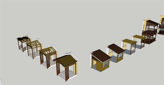 某模型别墅、阳台组合设计su门廊[出售]大理二手云南原创别墅图片
