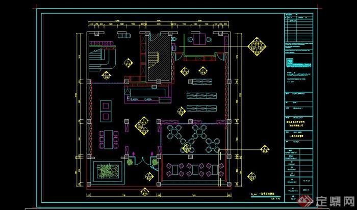 某室内书吧设计cad完整施工图(1)