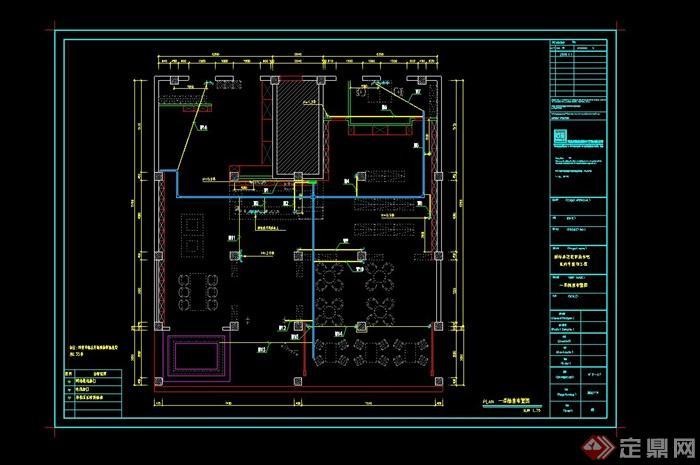 某室内书吧设计cad完整施工图(3)