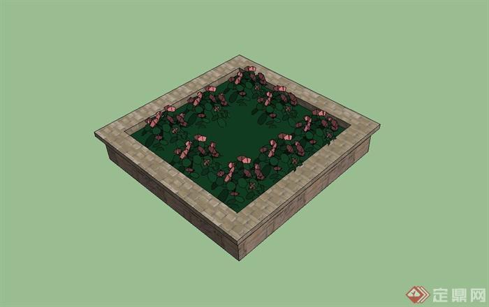 某广场正方形砖砌树池设计su模型(1)