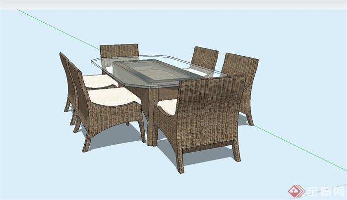 某现代室内餐桌椅设计su模型