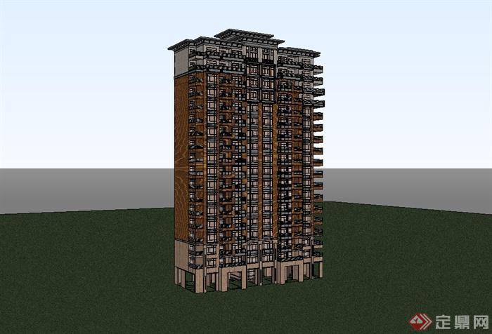 精致欧式小区住宅楼设计su模型(3)