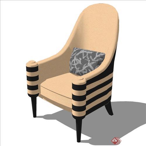 某欧式客厅座椅设计su模型(3)
