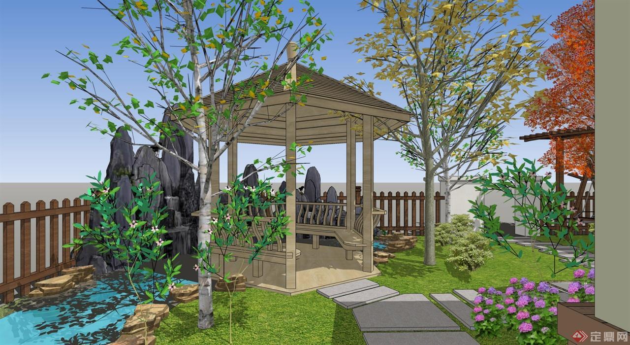 别墅私家花园中式景观设计