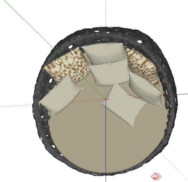 现代圆形镂空休闲椅子设计su模型
