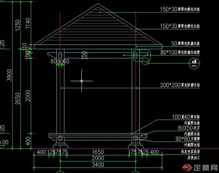 园林景观节点亭子设计cad结构图