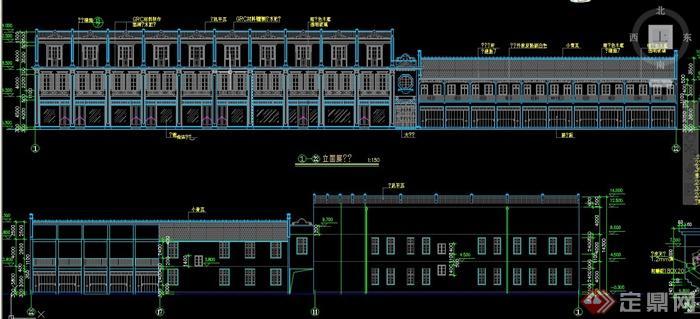三层欧式风格商业建筑设计cad方案图,该图纸内容有立面图,剖面图