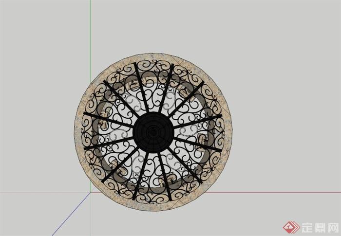 欧式圆形镂空景观亭子su模型[原创]