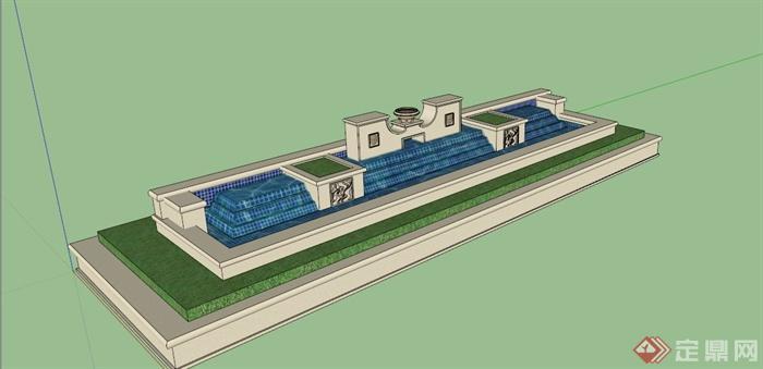 欧式水池景观su模型(1)