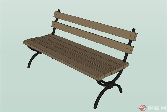 现代木条长椅su模型