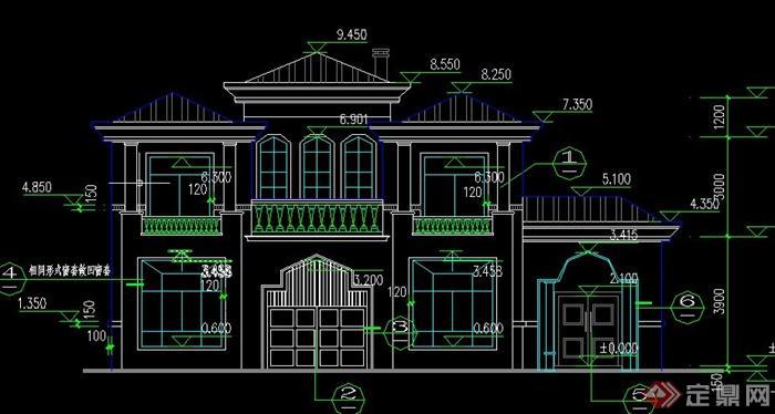 豪华欧式二层别墅建筑设计cad全套图纸[原创]