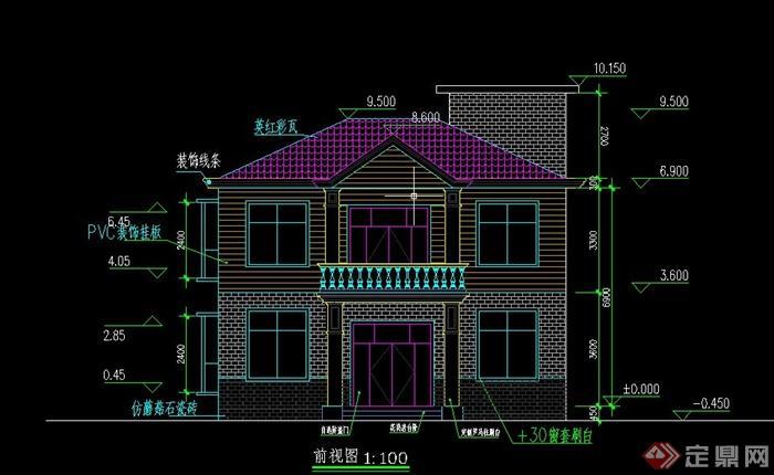 自建两层独栋别墅建筑设计cad施工图[原创]