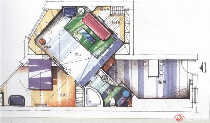 住宅空间户型设计jpg手绘图