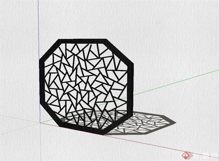 中式窗花设计su模型(2)