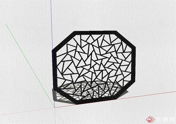 中式窗花设计su模型(1)