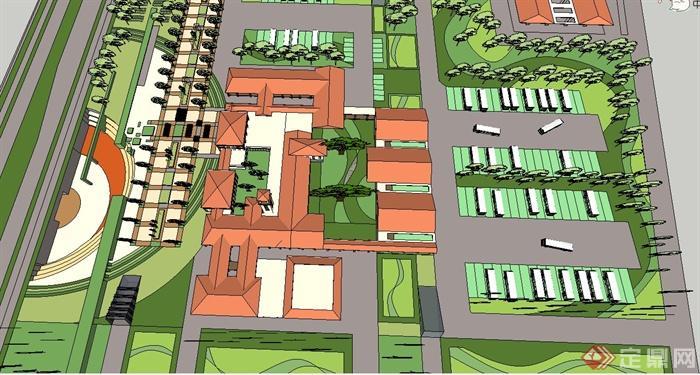 欧式风格两层汽车站建筑设计su模型(5)